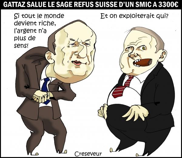 pierre gattaz,medef,patronat,patrons,suisse,votation,référendum,smic à 3300€,dessin de presse,caricature
