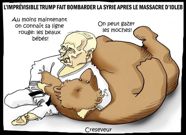 wladimir poutine, ours, judo, idleb, massacre au gaz sarin, beautiful babies, donald trump, syrie, bachar el assad, dessin de presse, caricature