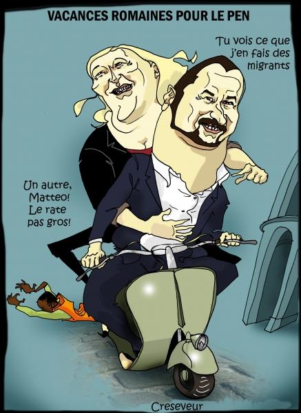 Marie Le Pen, Matteo Salvini, Italie, migrants, méditerranée, immigration, accueil des étrangers, européennes, dessin de presse, caricature