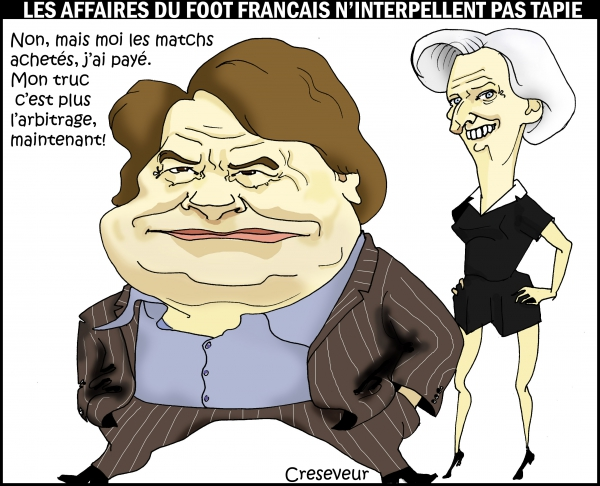 tapie, lagarde, football, corruption, dessin de presse, caricature