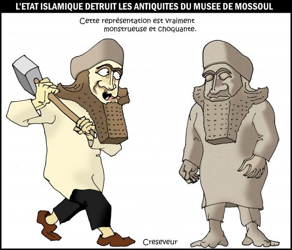 L'EI détruit les statues à Mossoul.JPG