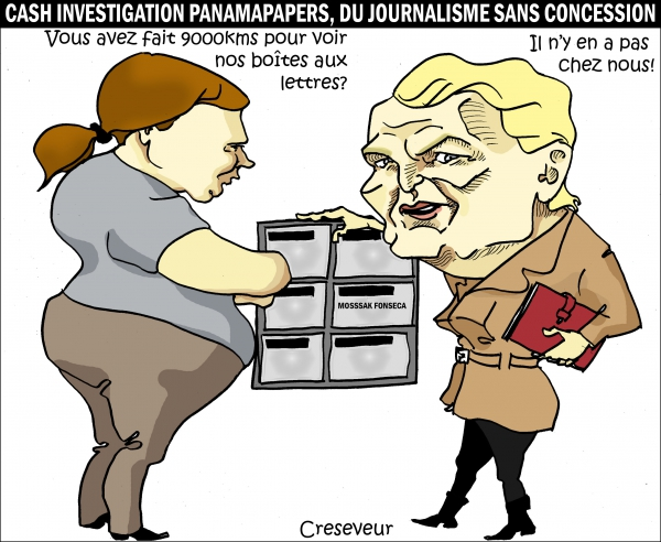 cash investigation,panama papers,journalisme d'investigation,scandale,dessin de presse,caricature
