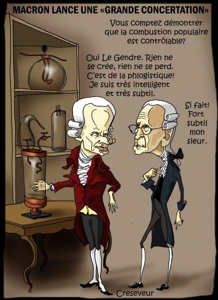 Macron, Gilles Le Gendre, intelligent et subtil, phlogistique, Lavoisier, rien ne se crée, rien ne se perd, tout se transforme, dessin de presse, caricature