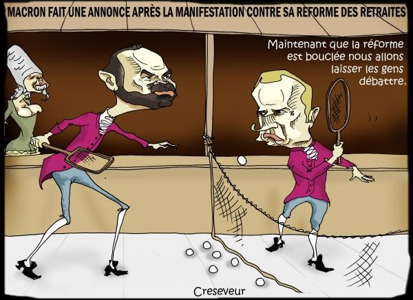 Macron répond aux manifestants sur les retraites.JPG