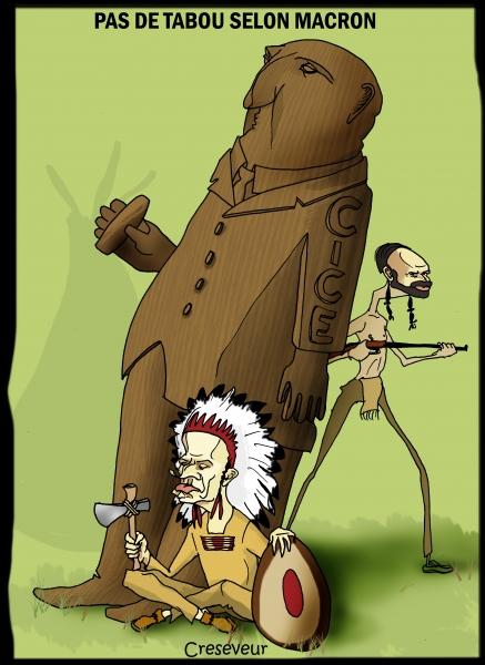 Macron et le nouveau totem.JPG