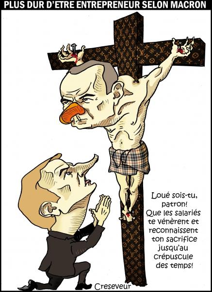 crucifixion,macron,gattaz,plus dur d'être un patron qu'un salarié,jésus,dessin de presse,caricature