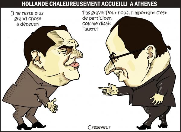 Hollande chaleureusement accueilli à Athènes.JPG