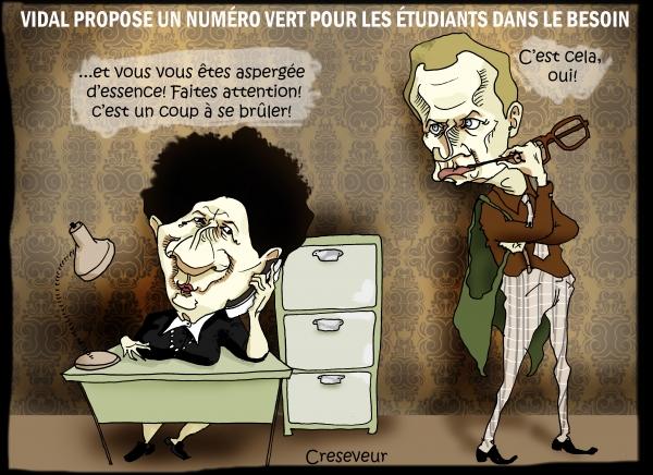Frédérique Vidal, macron, étudiants, le père noël est une ordure, dessin de presse, caricature