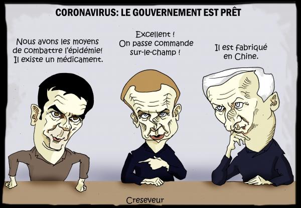 gouvernement,macron,olivier véran,bruno le maire,chine,coronavirus,dessin de presse,caricature