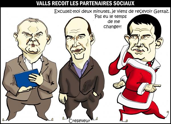 Valls reçoit les partenaires sociaux.JPG