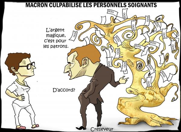 Macron met la contrainte fiscale sous la gorge des soignants.JPG
