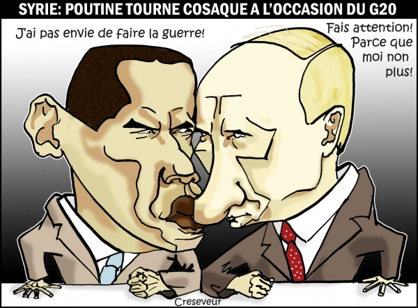 barack obama,vladimir poutine,syrie,g20,saint petersbourg,diplomatie,guerre,guerre froide,dessin de presse
