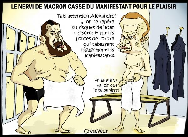 alexandre benalla,garde du corps,nervi,flics,manifestants,macron,dessin de presse,caricature