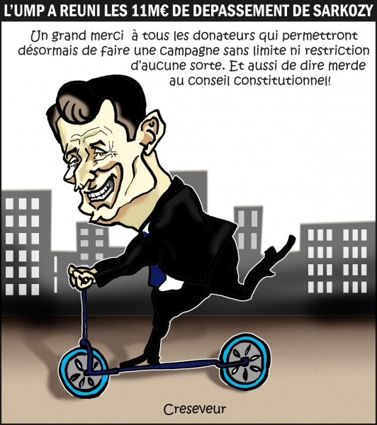ump,sarkozy,campagne présidentielle 2012,dépassements,lois,constitution,cosneil constitutionnel,dessin de presse