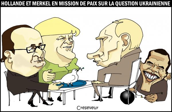 Hollande et Merkel demandent la paix à Poutine.JPG