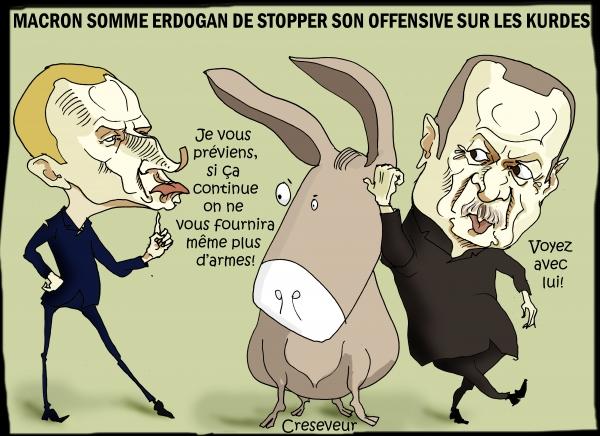 Macron somme Erdogan d'arrêter son offensive sur les kurdes.JPG