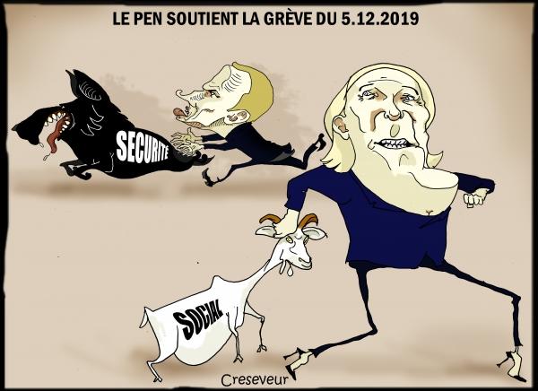 grève du 5 mars pour les retraites,femmes célibataires,marine le pen,macron,sécurité,virage sécuritaire,social,nationalisme,dessin de presse,caricature