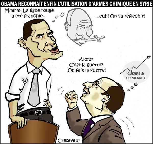 barack obama,françois hollande,wladimir poutine,syrie,guerre,ligne rouge,armes chimiques,popularité,bachar el assad,dessin de presse