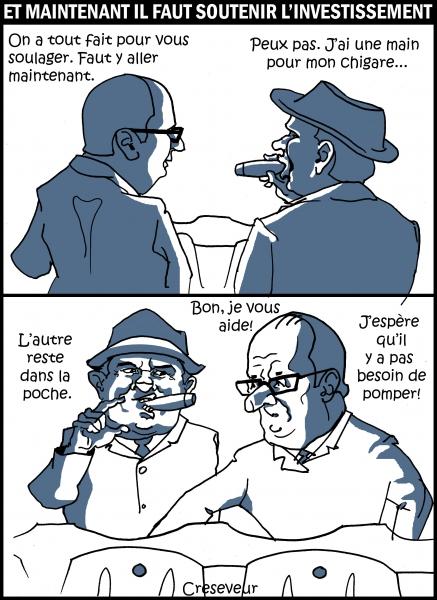 Hollande tient la bite des patrons.JPG