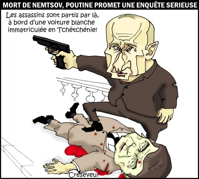 poutine,assassinat,opposant politique,boris nemtsov,tchétchénie,caucase,ukraine,guerre,dessin de presse,moscou,kremlin,caricature