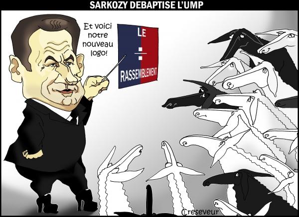nicolas sarkozy,ump,le rassemblement,parti politique,moutons,dessin de presse,caricature