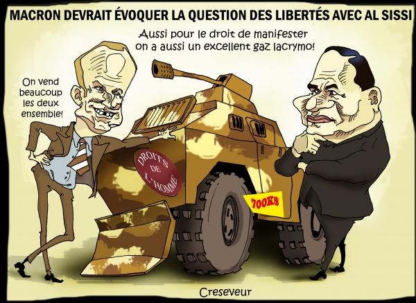 Macron en Egypte pour vendre des droits de l'homme.jpg
