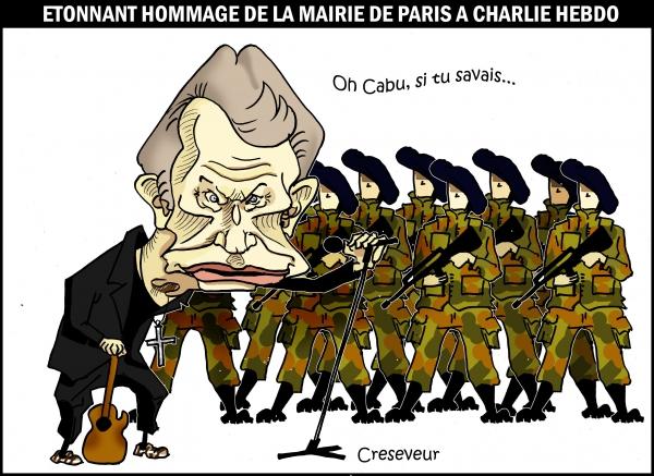 johnny halliday,choeurs de l'armée,hommage à charlie hebdo,mairie de paris,cabu,dessin de presse,caricature