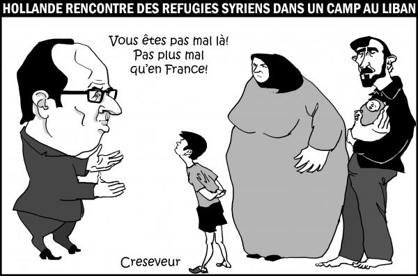 hollande, réfugiés syriens, syrie, guerre,bachar al assad,dessin de presse, caricature,