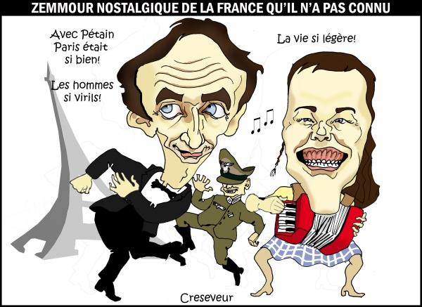 zaz,zemmour,paris sera toujours paris,paris sous l'occupation,occupation allemande,légèreté,zazou,les zazous,dessin de presse,caricature