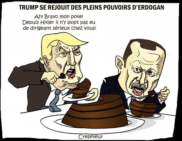 trump, erdogan, turquie, pleins pouvoirs, gâteau au chocolat, dictature, hitler, referendum du 16 avril 2017, dessin de presse, caricature
