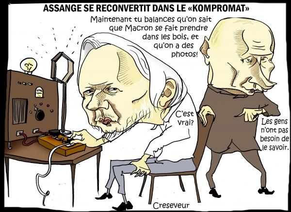 poutine,assange,wikileaks,mathieu gallet,emmanuel macron,closer,sputnik,isvestia,rt,homosexualité,kompromat,scandale sexuel,dessin de presse,caricature