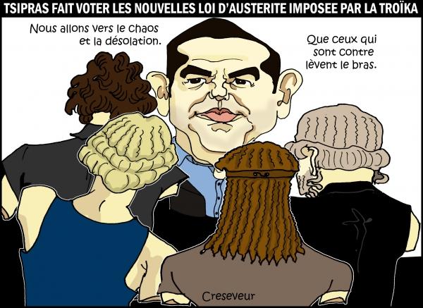 grèce, tsipras, syriza, austérité, troîka, chaos, assemblée nationale, fmi, lagarde, merkel, hallande, eurozone, eurogroupe, dessin de presse, caricature