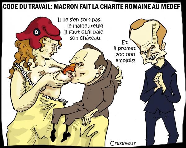 Macron fait la charité romaine au medef.JPG