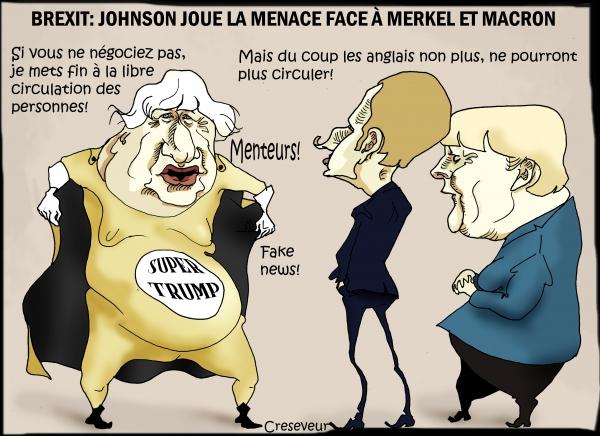 Johnson vient faire pression sur Merkel et Macron.JPG