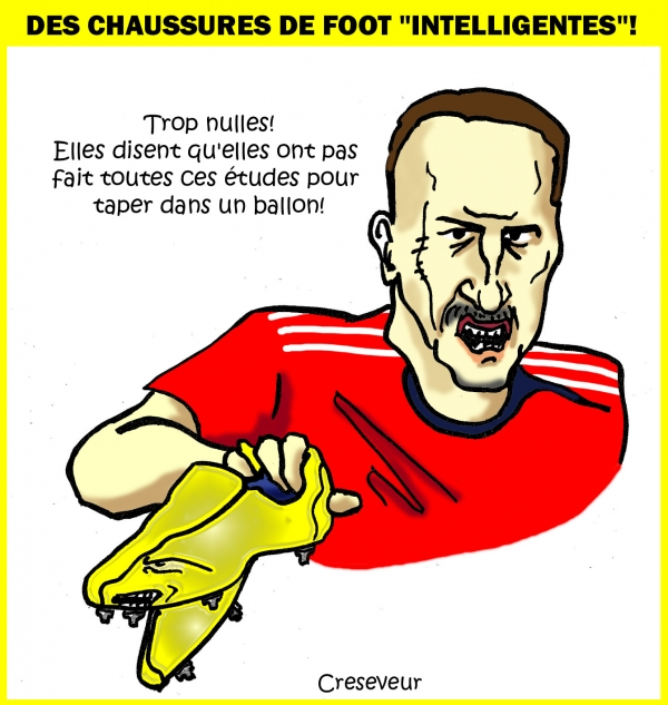 équimentiers,football,ribery,adidas,chaussures,crampons,intelligentes,dessin de presse