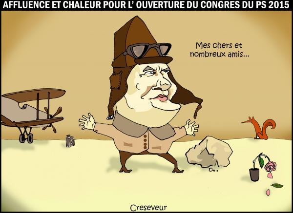 cambadélis, congrès du ps 2015, parti socialiste, socialisme de l'offre, le petit prince, désert, le renard, la rose, l'aviateur, saint exupéry, dessin de presse, caricature