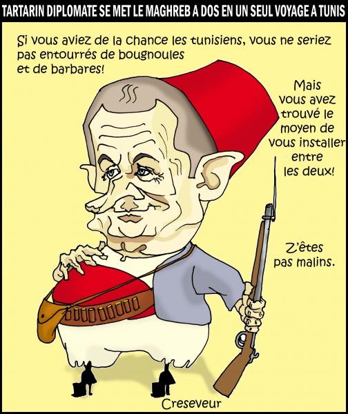 diplomatie,sarkozy,tunis,tunisie,maghreb,libye,kadhafi,algérie,immigration,bougnoules,frontières,dessin de presse,caricature