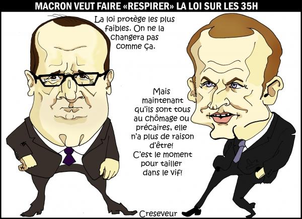 macron, 35 heures, gouvernement valls II, protection sociale, dessin de presse, caricature