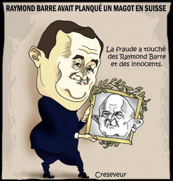 raymond barre,darmanin,fraude fiscale,suisse,dessin de presse,caricature