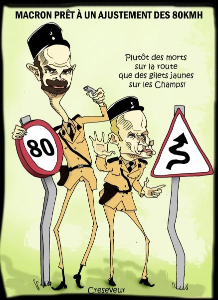 sécurité routière; 80kmh,macron,edouard philippe,gilets jaunes,dessin de presse,caricature