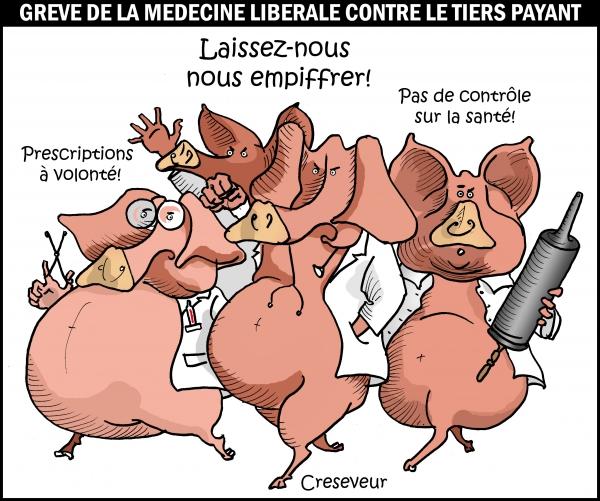médecine libérale,grève,tiers payant,contrôle des prescriptions,dépassements,dessin de presse,caricature