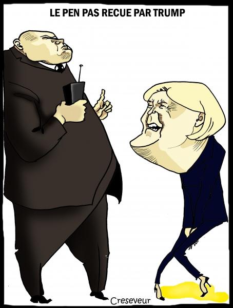 marine le pen, trump, trump tower, fn, dessin de presse, caricature