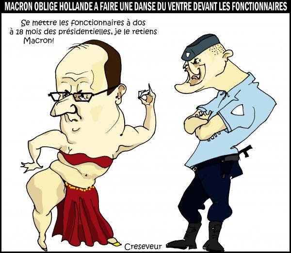 fonction publique,fonctionnaires,emmanuel macron,hollande,libéralisme,dessin de presse,caricature