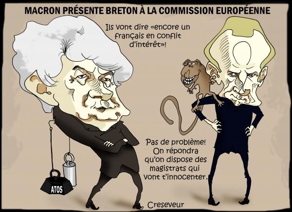 Union eurpéenne, commissaire à la commission européenne, thierry breton, sylvie goulard, macron, dessin de presse, caricature