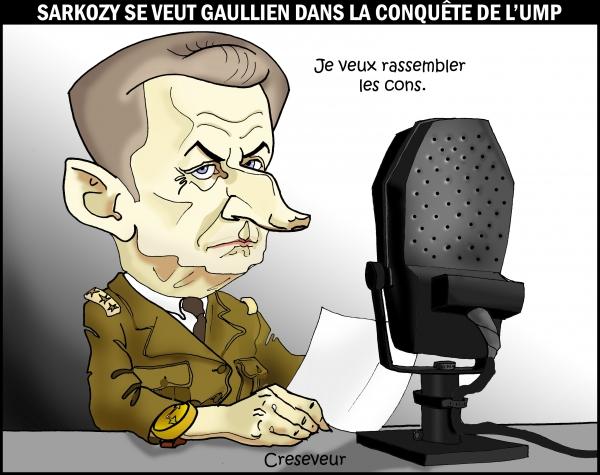 sarkozy, de gaulle, ump, présidentielles, primaires ump, dessin de presse, caricature