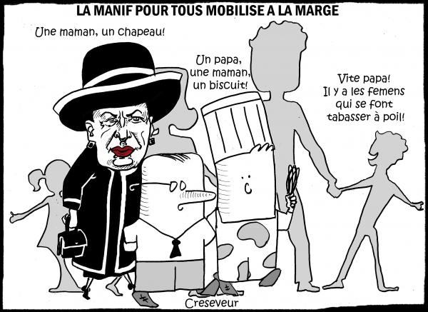 manif pour tous,réactionnaires,geneviève de fontenay,michel et augustin,femens,lgbt,dessin de presse,caricature