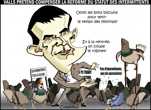 Valls fait picorer les intermittents.JPG