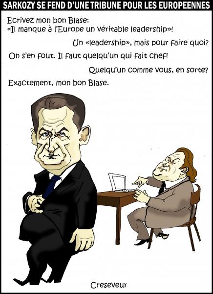 Sarkozy se fend d'une tribune pour les européennes .JPG